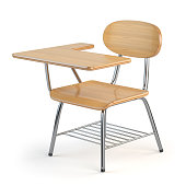 Wooden school desk and chair isolated on white. 3d illustration
