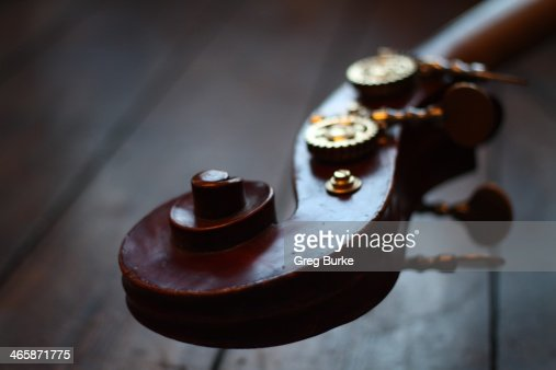 Wooden scroll on a double bass