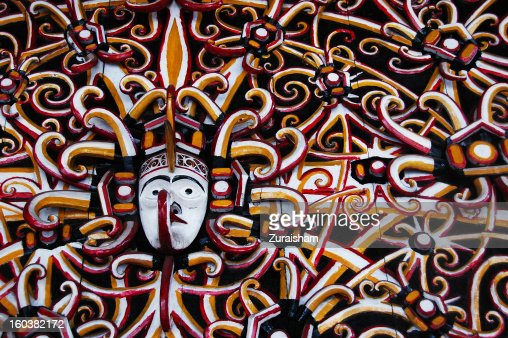 Wooden Sculpture from East Kalimantan : Stock Photo