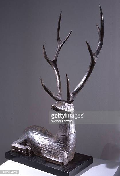 Wooden sculpture of a deer Deer were a familiar figure in Chinese mythology and were associated the god of lognevity Country of OriginChina Chou...