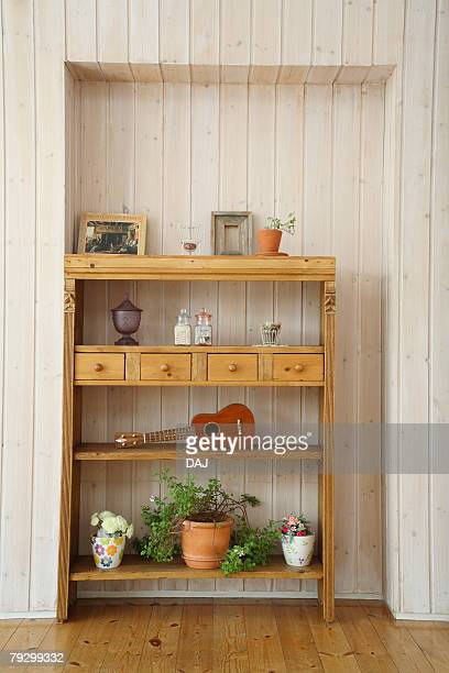 Wooden Shelf in Room, Front View