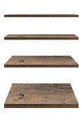 Wooden shelf template set isolated on white background with clipping path. For decorated interior or montage of your product on shelf.