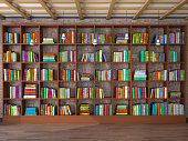 Wooden shelves in the room with different books. Library. 3d illustration.