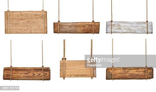 Hölzerne Schild Hintergrund Nachricht Seil hängen mit Kette : Stock-Foto