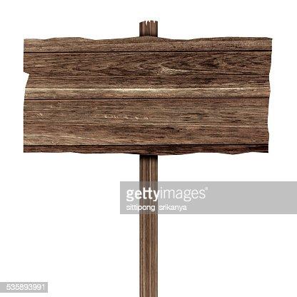 Hölzerne Schild isoliert auf weiss. Holz alte Planken : Stock-Foto