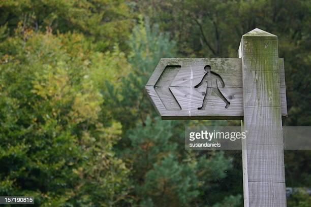 Hölzerne Schild in einem Wald mit Richtung