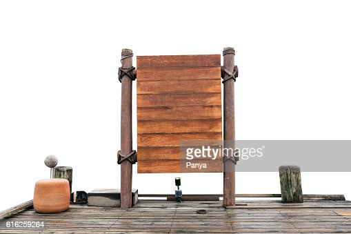 wooden signboard and wood floor on white background. : Foto de stock