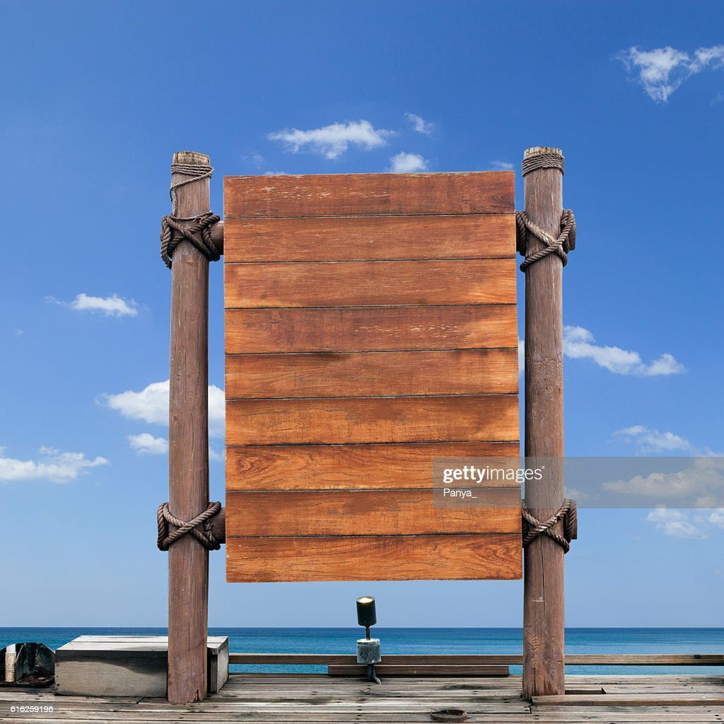 wooden signboard on sky background. : Stock Photo