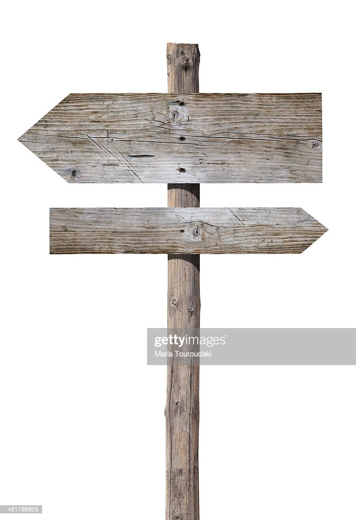 Wooden signs on white