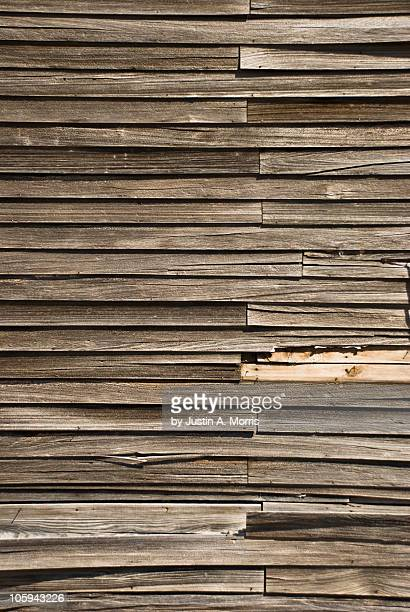 Wooden slats on a country schoolhouse
