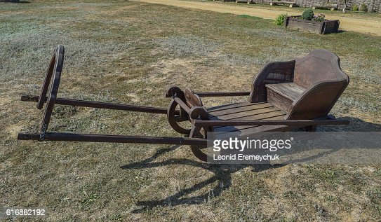Wooden sleigh rides for young horses : Stock Photo