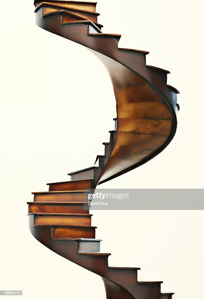 wooden spiral stair case : Stock Photo