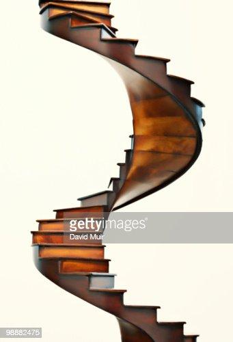 wooden spiral stair case : Stock Photo