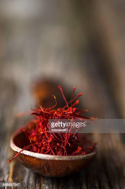 Wooden spoon with saffron threads