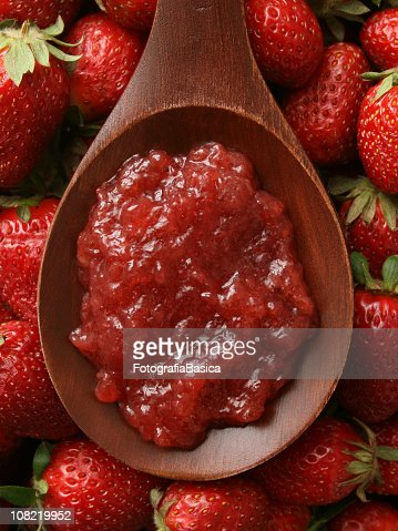 Wooden Spoon with Strawberry jam : Stock Photo