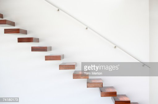 Wooden staircase and handrail : Stockfoto