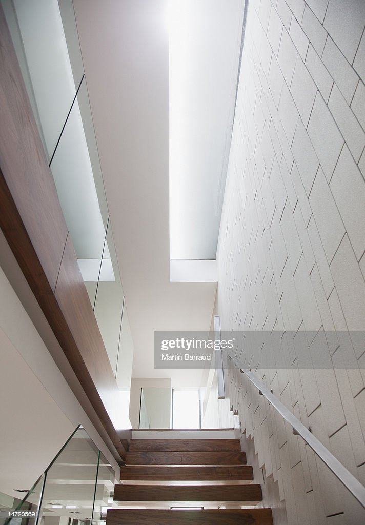 Wooden staircase in modern house : Stock Photo