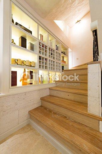 wooden stairs in luxury home interior stock photo thinkstock