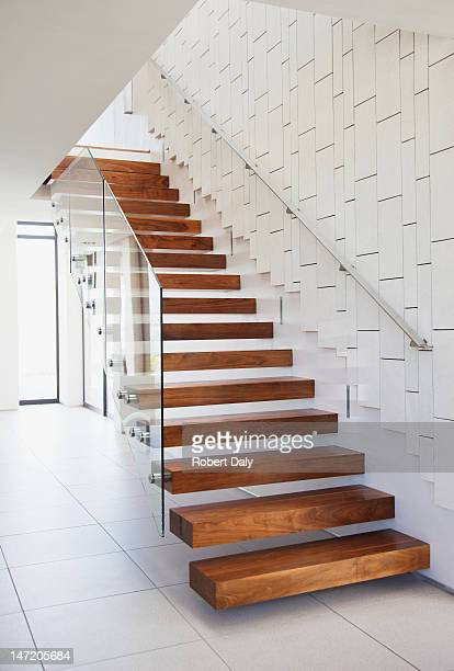 Wooden stairs in modern house