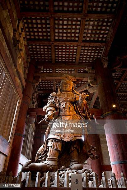A wooden statue stands in Daibutsuden Hall in Todaiji temple on October 6 2010 in Kyoto Japan