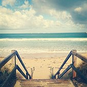 Wooden steps at beach