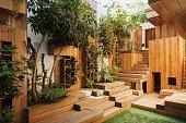 Wooden steps in courtyard