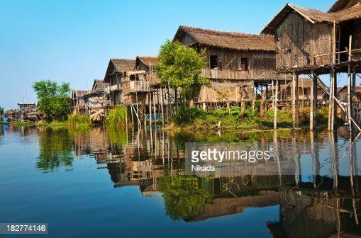 Wooden stilt houses in Asia
