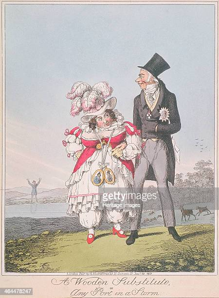 'A Wooden Substitute or Any Port in a Storm' 1821 Alderman Wood takes Caroline of Brunswick's left arm staring at her and grinning inanely in the...