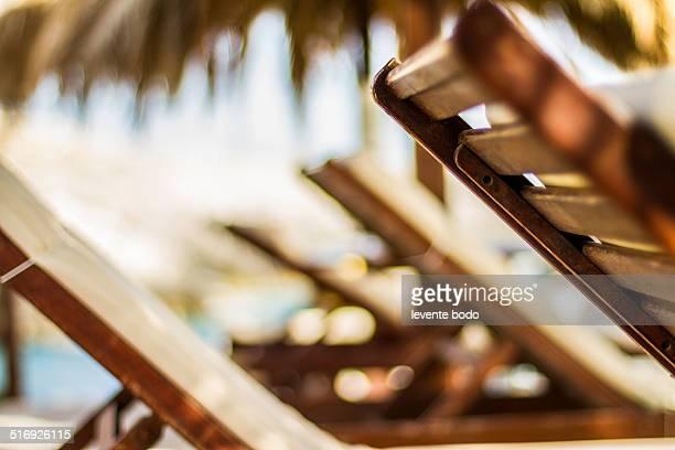Wooden Sunbeds, Sunset Beach