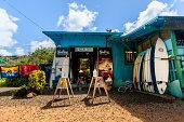 Wooden surfshop repair shack