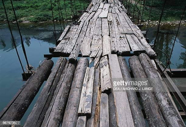 Wooden suspension bridge Mentougou district China Detail