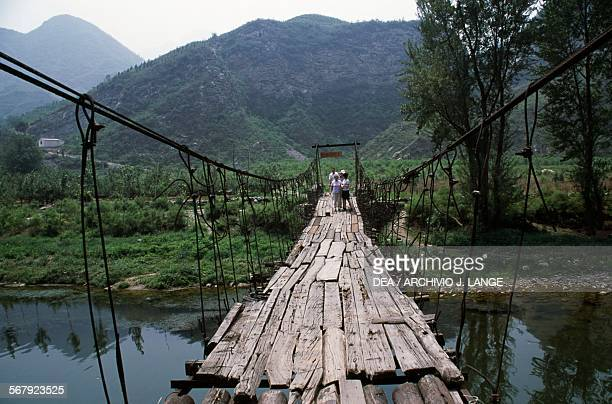 Wooden suspension bridge Mentougou district China