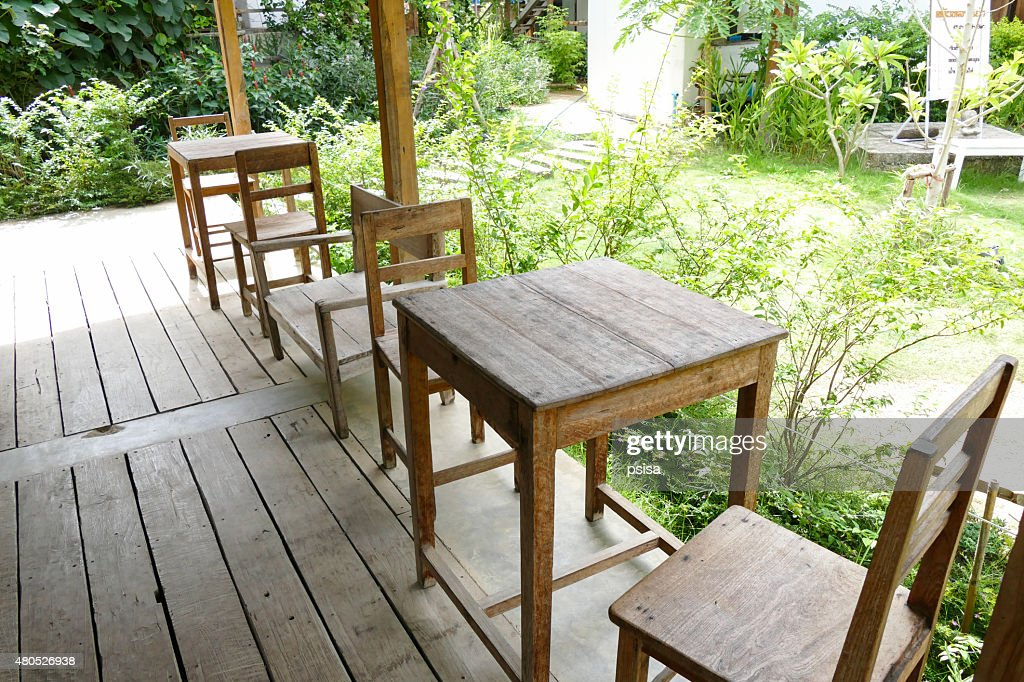 wooden table and chair : Stock Photo