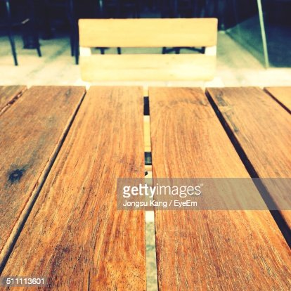 Wooden table in cafe