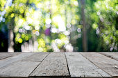 wooden table in front of the blur background with bokeh the green leaf tree