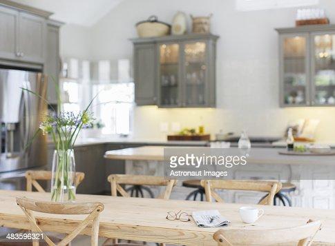 Wooden table in luxury kitchen