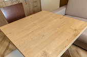 wooden table in room, close up