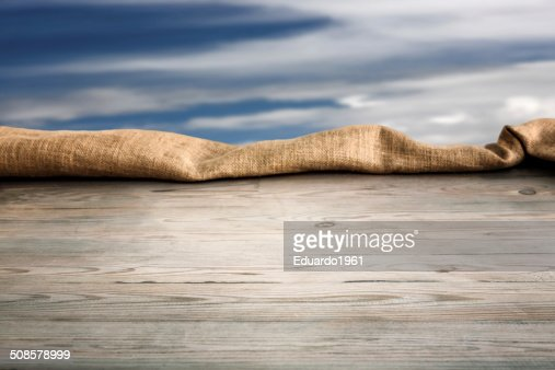 Wooden table with background : Stock Photo