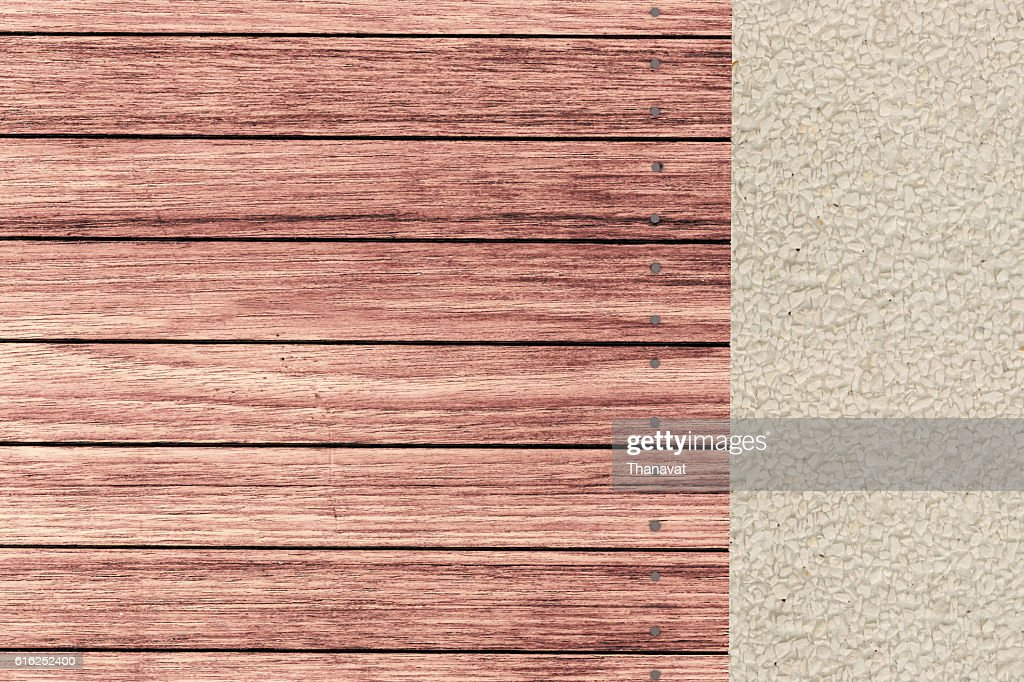 wooden terrace and gravel Garden in horizontal top view : Foto de stock