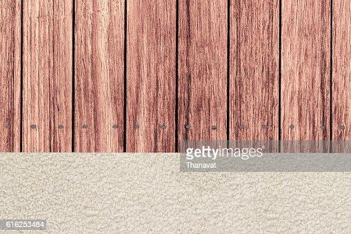 wooden terrace and gravel Garden in vertical top view : Foto de stock