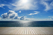 Wooden terrace beside tropical sea