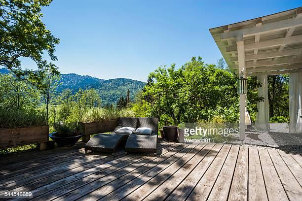 Wooden terrace in sunlight