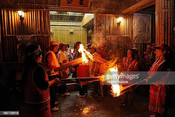 Wooden torches are lit by members of the Saisiyat tribe one of Taiwan's smallest aborigine ethnic groups during the Ai Jin Li festival in Wu Fong The...