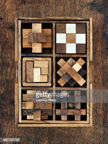 Wooden toy blocks in box