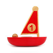 This is a wooden toy, red sailboat with number one on sail.