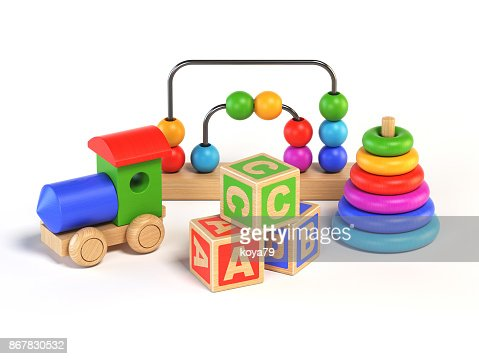 Wooden toys on white background 3d rendering : Stock Photo