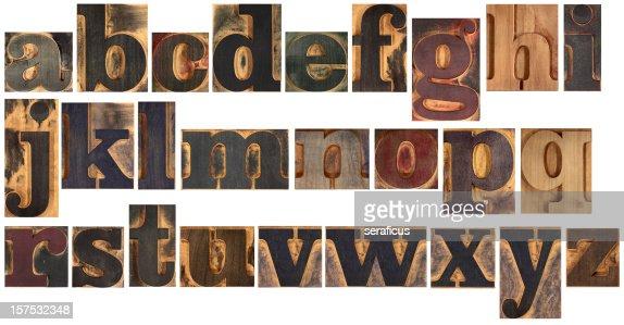 Wooden typeset alphabet