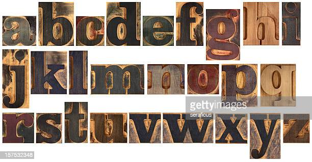 typeset en bois alphabet