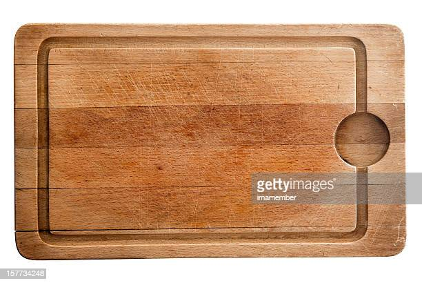Wooden used chopping board isolated on white background, copy space