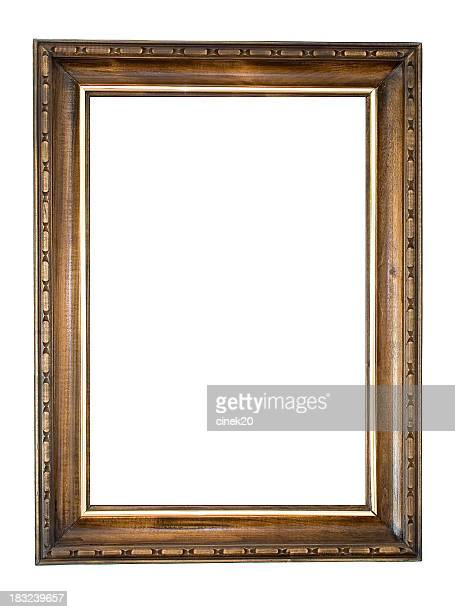 Wooden vintage style frame over a white background